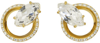 Miu Miu Gold Crystal Clip-On Earrings
