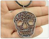 Nobrand No brand fashion antique silver color 48*37mm skull pendant leather necklace