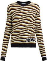 Prada Stripe And Wave-intarsia Cashmere Sweater - Womens - Orange Multi