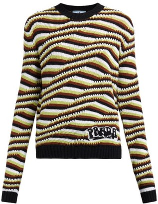 Prada Stripe And Wave-intarsia Cashmere Sweater - Womens - Orange Multi
