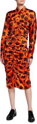 Ganni Ruched Floral-Print Satin Silk Stretch Dress