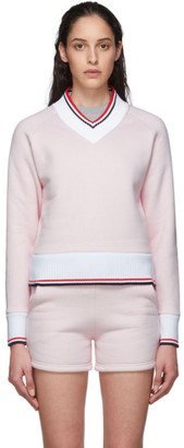 Thom Browne Pink and White University V-Neck Sweater