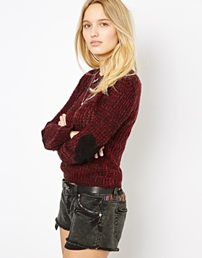 Love Heart Elbow Patch Sweater - Red