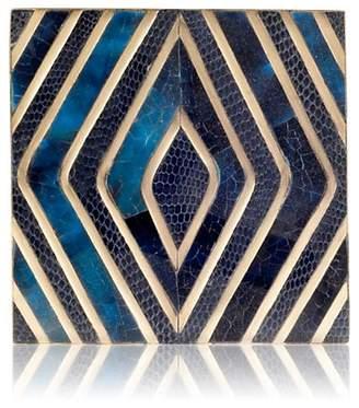 KIFU Paris Geometric-Motif Coaster - Blue Pen Shell