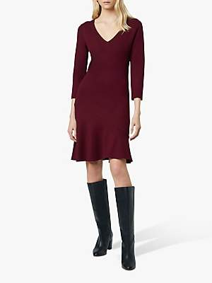 French Connection Sancia Jersey V Neck Dress, Dark Berry Blush