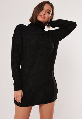 Missguided Tall Black Turtle Neck Knit Sweater Dress