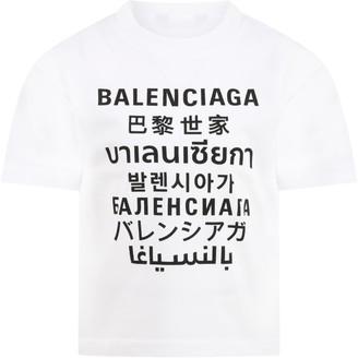 Balenciaga White T-shirt For Kids With Logos