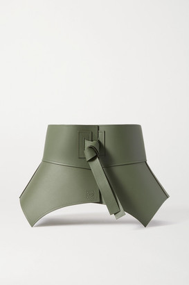 Loewe Obi Leather Waist Belt - Sage green