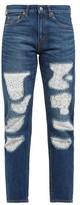 Junya Watanabe Lace-patchwork Straight-leg Jeans - Womens - Blue