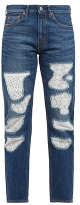 Junya Watanabe Lace-patchwork Straight-leg Jeans - Blue