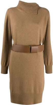 Fabiana Filippi Asymmetric Collar Turtleneck Dress