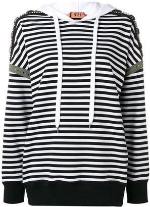 No.21 striped embellished hoodie