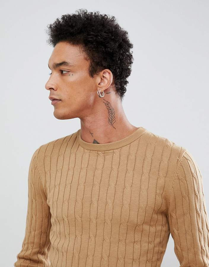 Gianni Feraud Premium Muscle Fit Stretch Crew Neck Cable Sweater