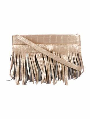 Nancy Gonzalez Crocodile Fringe Crossbody Bag Metallic