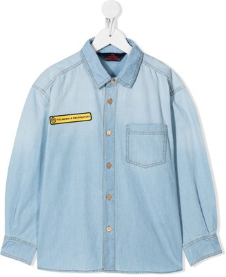 The Animals Observatory Patch-Embellished Denim Shirt