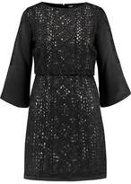 Maje Embellished Embroidered Satin Mini Dress
