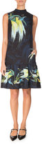 Erdem Nena Bird-Print Drop-Waist Dress, Black/Yellow