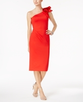Betsy & Adam Petite Ruffled One-Shoulder Dress