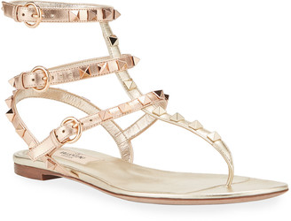 Valentino Rockstud Flat Metallic Gladiator Sandals