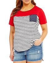 Moa Moa Plus Americana Striped Flag Pocket Tee