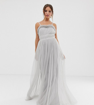 Anaya With Love tulle cami maxi dress with ruffle trim and satin trim in grey