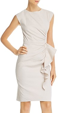 Rebecca Taylor Tailored Ruffled Sheath Dress