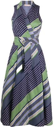 Tory Burch Striped-Print Tie-Waist Dress