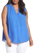 NYDJ Plus Size Women's Print Sleeveless Pleat Back Top