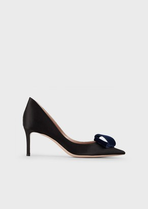 Giorgio Armani Satin Court Shoes With Velvet Bow