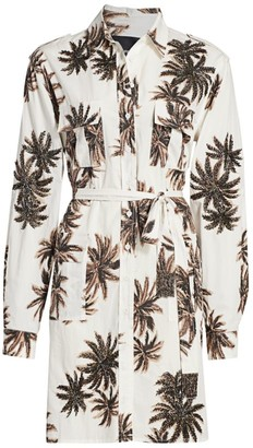 le superbe Beaded Palm Tree-Print Shirtdress