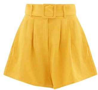 Adriana Degreas High-rise Slubbed-poplin Shorts - Womens - Yellow