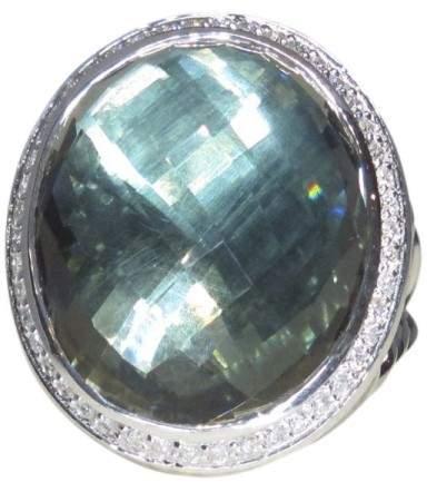 David Yurman 925 Sterling Silver Prasiolite Oval Diamond Ring Size 7