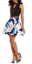 Jodi Kristopher Sequin Lace Top and Floral Print Skirt Two-Piece Dress