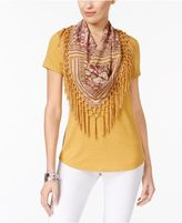 Style and Co Petite T-Shirt with Printed Fringe Scarf, Created for Macy's