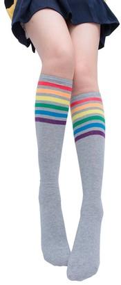 "Tuduz Socks TUDUZ Women Knee-High Socks Thigh High Socks Over Knee Rainbow Stripe Girls Football Sport Socks Black White Gray (Gray Length:approx 66cm/26.0"")"