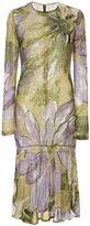 Naeem Khan Long Sleeve Beaded Floral Knee Length Dress