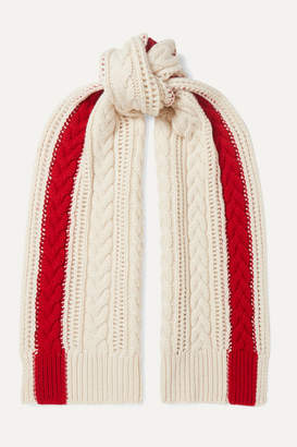 Alexander McQueen Striped Cable-knit Cashmere Scarf - Ecru