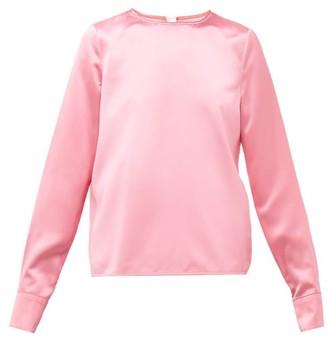 Marni Topstitched Hem Satin Blouse - Womens - Pink