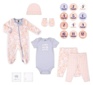 The Peanut Shell The Baby Girl 20 Piece Coral and Periwinkle Floral Pattern Hanging Gift Set