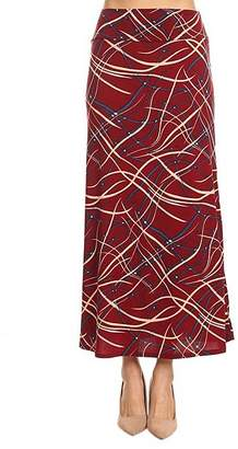 One Fashion By Cozy Collection One Fashion by Cozy Collection Women's Casual Skirts BURGUNDY - Burgundy & Cream Lines High-Waist Maxi Skirt - Women