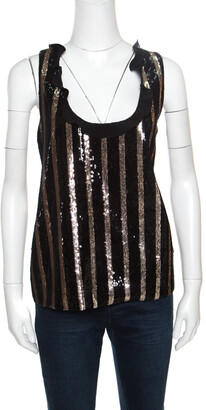 Ungaro Black and Gold Striped Sequin Embellished Silk Sleeveless Top L