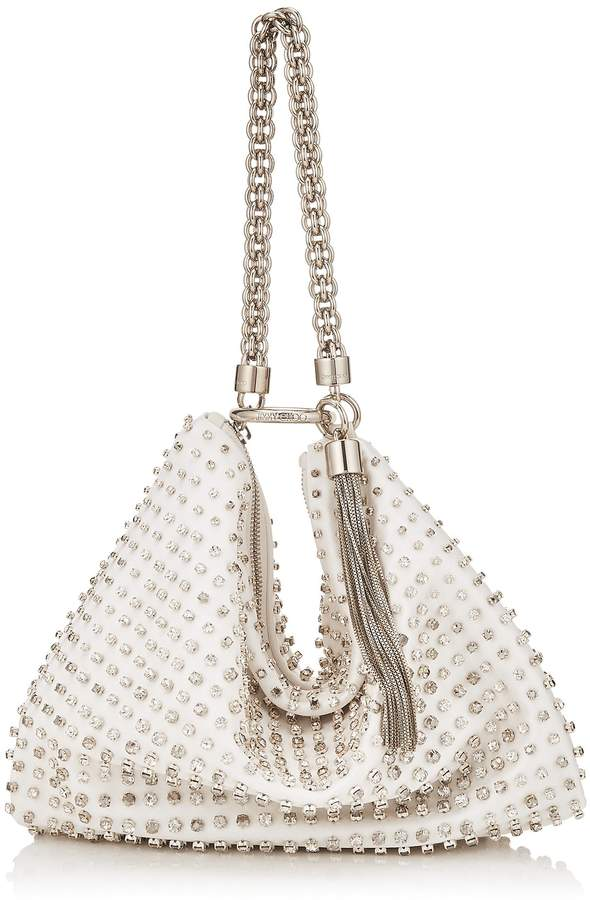 Jimmy Choo CALLIE White Satin Clutch Bag with Degrade Crystal Embroidery