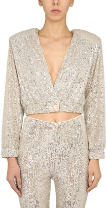 Rotate by Birger Christensen Judy Sequinned Cropped Jacket