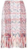 St. John Plaid Fringe Skirt