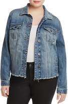 Lucky Brand Plus Frayed-Hem Denim Jacket