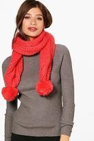 boohoo Womens Milly Chunky Knit Pom Pom Scarf