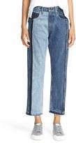 Rag & Bone '2 Tone' High Rise Crop Straight Leg Jeans