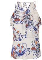 Morgan Floral Print Voile Top With Ruffle