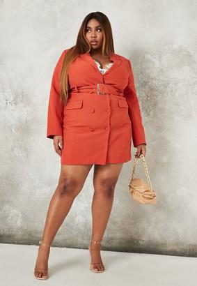 Missguided Plus Size Orange Tailored Belted Blazer Dress