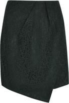 Carven Wrap-effect lace mini skirt
